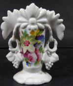 kl. Biedermeier-Vase mit Blumenmalerei, H-12 cm, B-10 cm- - -22.61 % buyer's premium on the hammer