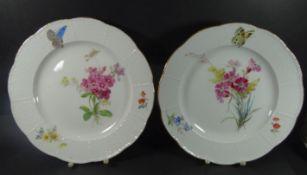 """2 Teller """"Meissen"""" Blumen-und Schmetterling, Ozier, Goldrand, D-26 cm, beide 1.Wahl- - -22.61 %"""