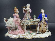 """grosse Figurengruppe """"Musikstunde"""" von Volkstedt, H-19 cm, B-27 cm, Spitzenkleid mit Abplatzer- - -"""