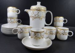 "Kaffee bzw. Mokka-Service ""Rosenthal"" Gold-Reliefdekor, 15 Teile, Kanne H-18 cm, Tassen H-6 cm,"