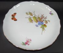 grosse Meissen Schale, Feldblumen und Schmetterling, H-4 cm, D-28 cm, 1.Wahl- - -22.61 % buyer's