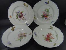 """4 Teller """"Meissen"""" Blumen-und Schmetterling, Ozier, 1x kl. Chip an Rand, D-25 cm, alle 1.Wahl- - -"""