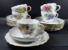 5x Meissen Gedecke, Blumen-und Schmetterlinge, alles erste Wahl, 5 Tassen mit 5 U.T., 6