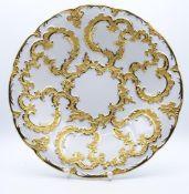 """Prunkteller """"Meissen"""",mit Goldstaffage,Schwertermarke durchschliffen,H-5,5cm,d-28,5cm- - -22.61 %"""