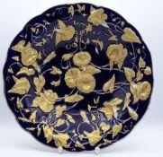 """Prunkteller """"Meissen"""", blau mit Goldstaffage,Schwertermarke im Boden,H-5,5cm,d-28,5cm,Gold tw."""