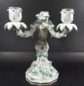 """grosser Kerzenständer """"Meissen"""" indisch grün mit Gold, 3 flammig, 1.Wahl, H-23,5 cm, D-20 cm, eine"""