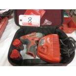 Lot 8 - LOT - MILWAUKEE M12 BATTERY SCREW GUN W/ CHARGER & (2) BATTERIES & TRAVEL CASE