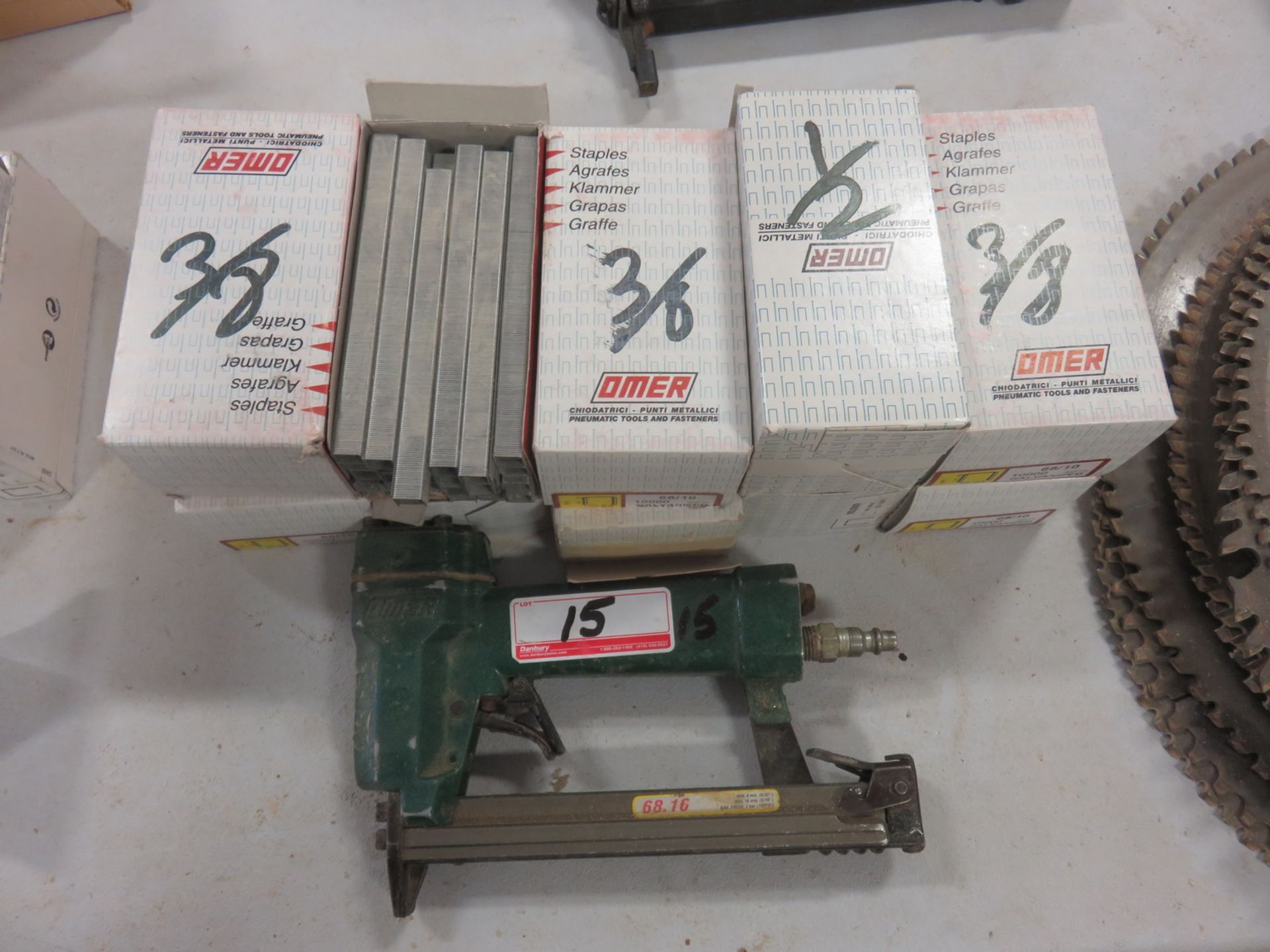 Lot 15 - LOT - OMER PNEU UPHOLSTERY STAPLER W/ (10) BOXES OF STAPLES