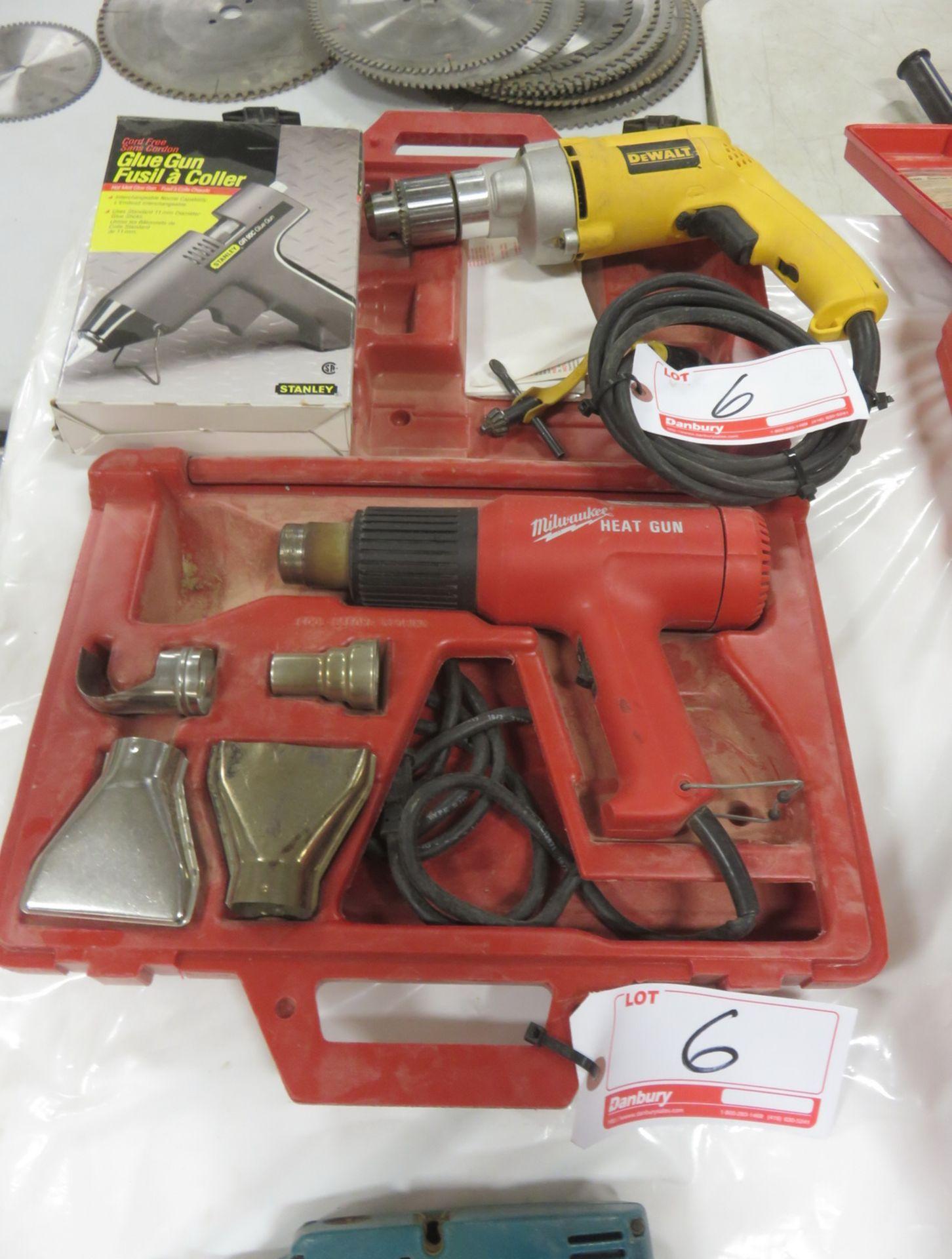 Lot 6 - LOT- DEWALT DW235G ELECTRIC 1/2 DRILL, MILWAUKEE HEAT GUN, STANLEY HOT GLUE GUN