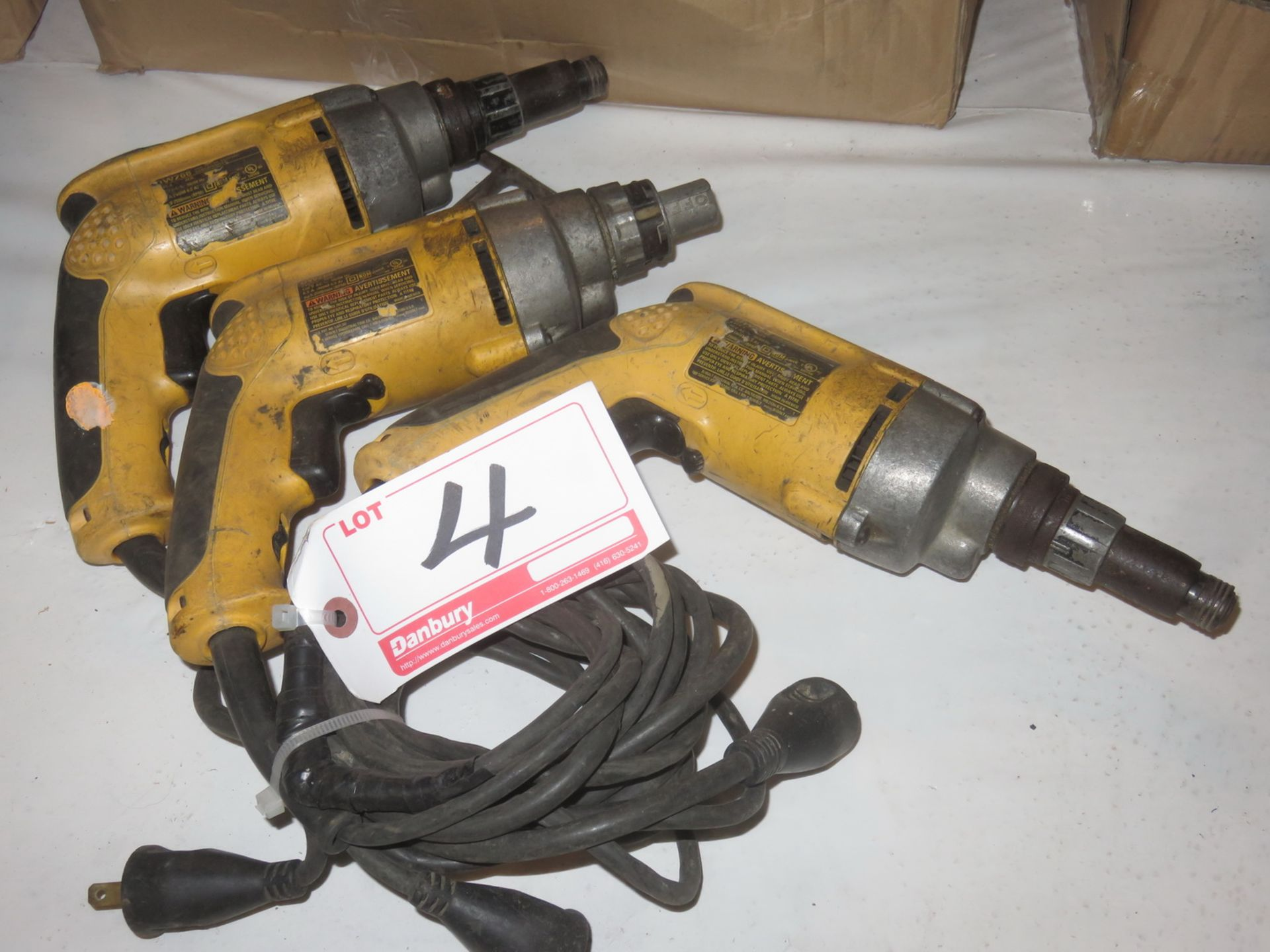 Lot 4 - LOT - DEWALT MOD DW268, DW266 ELECTRIC SCREW GUNS ETC.