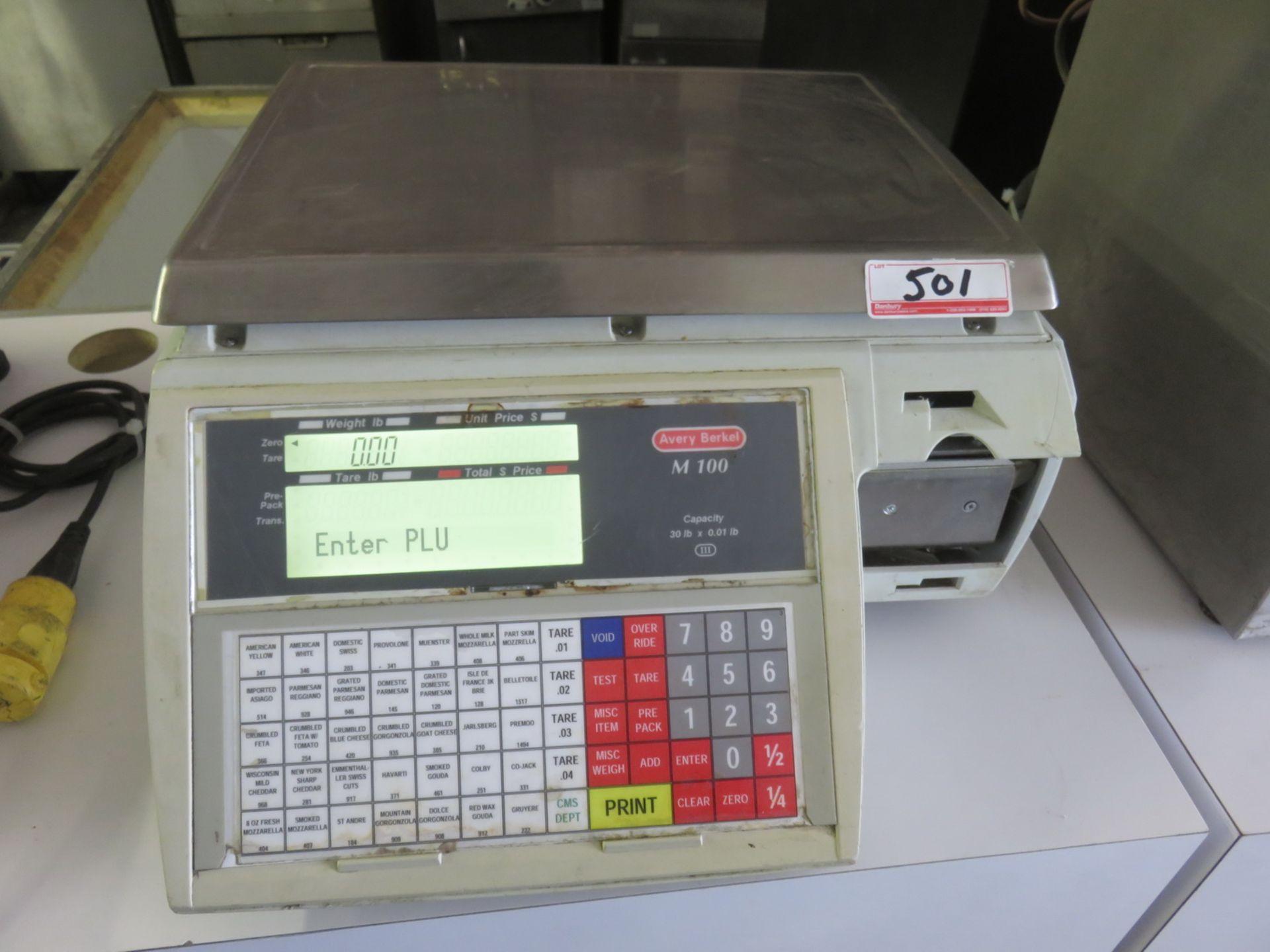 "Lot 501 - AVERY BERKEL MOD M-100, 30LB X 0.01LB CAPACITY 12"" X 15"" DIGITAL PRINT OUT SCALE - S/N 05030462"