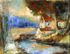 Walter Bernstein (Schiffweiler 1901-1981 Neunkirchen)Mühle am Bach, Öl auf Platte, 60,5 x 77 cm,