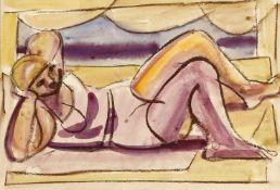 Edvard Frank (Korschenbroich 1909-1972 Saarlouis)Doppelbild: weiblicher liegender Akt, verso