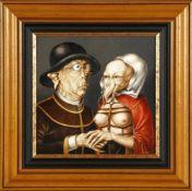 G.W., Monogrammist, Maler 2. Hälfte 20. Jh.Arcimboldeske Darstellung eines Paares, Öl auf Holz, 32 x