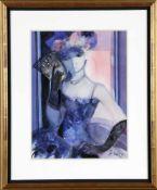 Camille Hilaire (* Metz 1916-2004)Lyane, Frau im blauen Kleid, Aquarell, 40,5 x 30 cm, rechts