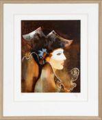 Bernard TillolloyMaskierte Frau, Farblithographie, Exemplar 26 von 250, 51 x 42 cm, unten nummeriert