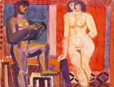 Edvard Frank (Korschenbroich 1909-1972 Saarlouis)Doppelbild: Frauenakt mit Mann am Fenster, unten