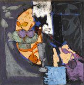 Claude Venard (1913-1999)Nature morte table orange, Öl auf Lwd., 100 x 100 cm, Farbschäden, in