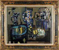 Antoni Clavé (Barcelona 1913-2005 Saint-Tropez)Stillleben mit Fisch, Öl auf Lwd., 73 x 93 cm,