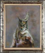 Bernard Louedin (*1938)Venezianische Frau mit Maske, Öl auf Lwd., 73 x 60 cm, unten rechts signiert,