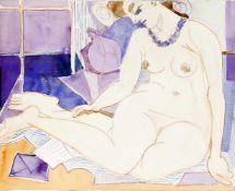 Edvard Frank (Korschenbroich 1909-1972 Saarlouis)Sitzender weiblicher Akt mit Brief, Aquarell auf