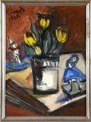 Richard Wenzel (Dresden 1889-1934 Saarbrücken)Gelbe Tulpen mit Clownpuppe, 1930, Gouache, 64 x 47