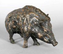 Hans Schröder (Saarbrücken 1930-2010 Saarbrücken)Wildschwein (Keiler), 1970er Jahre, Bronze, L: 21,5