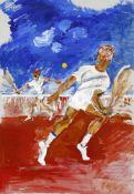 Hans Schröder (Saarbrücken 1930-2010 Saarbrücken)Tennisspiel, Tempera auf Karton, 73 x 51 cm, - ohne