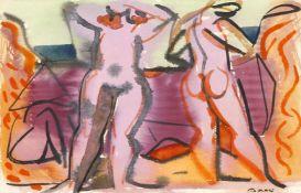 Edvard Frank (Korschenbroich 1909-1972 Saarlouis)Zwei stehende weibliche Akte, Aquarell auf Papier/