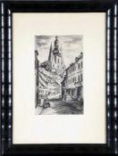 Mia Münster (St. Wendel 1894-1970 St. Wendel)Blick auf den Wendelsdom in St. Wendel, Kohlezeichnung,