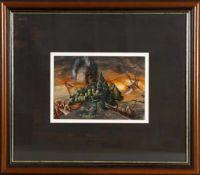 """Dietrich Schuchardt (* Bergen 1945- )""""nicht genug von dir"""", Gouache, 1990, 21 x 31 cm, oben rechts"""