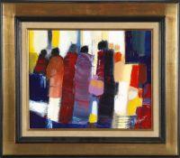 """Gerard Le Nalbaut (*1946)""""Les passantes"""", 1985, Öl auf Lwd., 33,5 x 41 cm, rechts unten signiert,"""