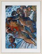 "Théo Tobiasse (* Jaffa/ Israel 1927)""L´Amour en bleu"", Gouache, Collage, 69 x 50 cm, oben signiert"