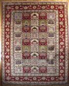 Keshan aus reiner Schurwolle, Persien, Ende 20. Jh.der Teppich zeigt ein Gartenmuster mit 45 Feldern