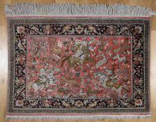 Seiden-Ghom mit Jagdmotiv, Persien, 1960-80er Jahreauf dem altrosafarbenem Grund Darstellung einer