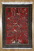 Ghom mit Vogelbaum-Motiv, Wolle mit Seide, Persien, 1980er Jahreals Hauptmotiv der Baum unter dem