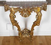 Vergoldete Barock-Konsole Louis XV., wohl Frankreich 19./20. Jh.Holz geschnitzt und vergoldet,