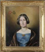 Ahnenporträt aus der Biedermeierzeit, Frau mittleren Alters im blauen Kleidoben links neben Kopf die