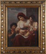 Italienischer Meister, 19. Jh., ca. 1880-1900Mutter mit ihren Kindern (Caritas), Öl auf Lwd., 78 x