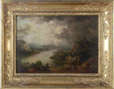 F. (oder P.) GräfRomantische Rheinlandschaft mit Burgen und Kleinstadt am Fluss, Staffagefiguren und