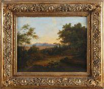 Italienische Landschaft, Mitte 19. Jh.Öl auf Holz (Nussbaum), 42 x 56 cm, im vergoldeten