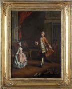 Maler des 18 Jh.Höfisches Interieur mit Tanzmeister der der jungen Dame die vor ihm steht Unterricht
