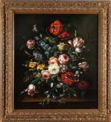 Prächtiges Blumenstillleben im Stil des 17. Jh., wohl deutsch 19./20. Jh.Öl auf Lwd., 80 x 70 cm, im