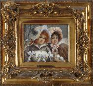 Benno Sachs (1868-1939)Bruststück, zwei junge Damen mit Hüten und Schneebällen in verschneiter