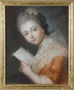 Zauberhaftes Pastellporträt einer jungen Frau im Seitenprofil den Blick zum Betrachter gewendet,