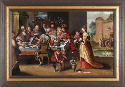 Das Gastmahl des Herodes, wohl um 1600Öl auf Holz, 49 x 77 cm, schadhaft neuzeitlicher gut passender