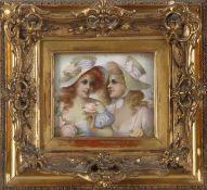 Benno Sachs (1868-1939)Bruststück, zwei junge Damen mit sommerlicher Kleidung und Rosen, Öl auf