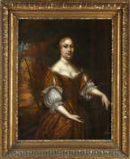 Wohl niederländischer Maler des 17. Jh.Vornehme Frau in gelbem Kleid vor Landschaft, Öl auf Lwd.,