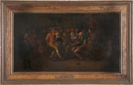Bauerntanz in der Gaststube, niederländischer Meister Ende 17. - Anfang 18. Jh., auf Rahmen