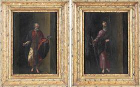 Deutscher Heiligenmaler 17./18. Jh.Gemäldepaar, Hl. Petrus und Hl. Paulus die Apostelfürsten,